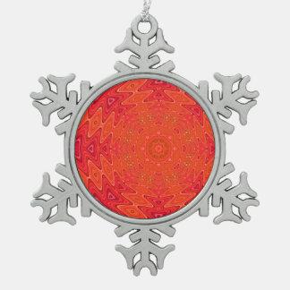 Orange and Pink Abstract Sun Mandala Snowflake Pewter Christmas Ornament