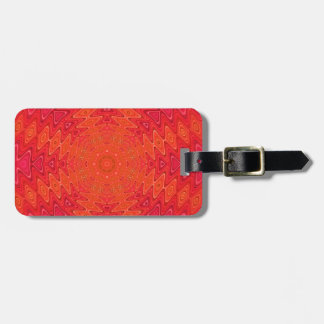 Orange and Pink Abstract Sun Mandala Tag For Bags