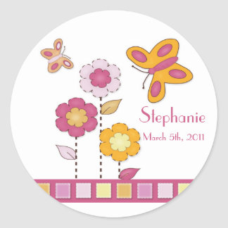 Orange and Pink Butterfly Stickers