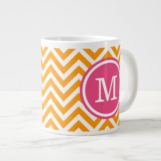 Orange and Pink Chevron Custom Monogram Giant Coffee Mug