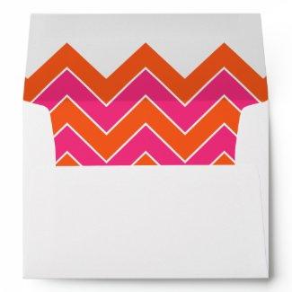Orange and Pink Chevron Wedding Envelope zazzle_envelope