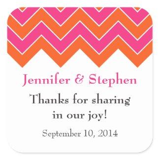 Orange and Pink Chevron Wedding Favor Stickers zazzle_sticker