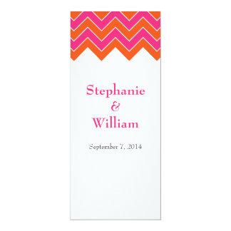Orange and Pink Chevron Wedding Menu Cards