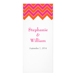 Orange and Pink Chevron Wedding Menu Cards Announcement