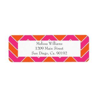Orange and Pink Chevron Wedding Return Address zazzle_label