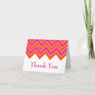Orange and Pink Chevron Wedding Thank You zazzle_card