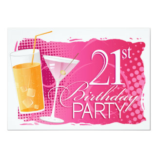 Orange and Pink Cocktail 21st Birthday Party Card