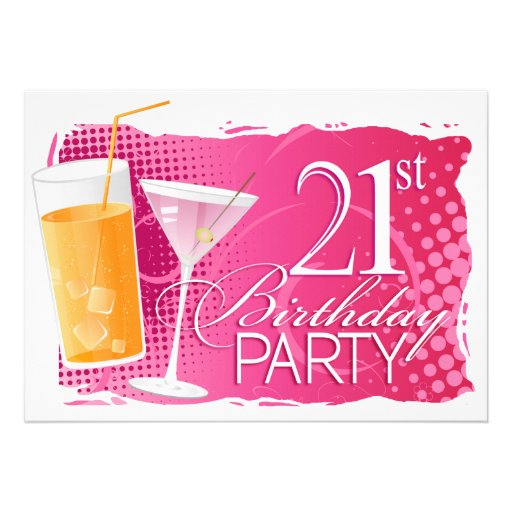 Orange and pink cocktail 21st birthday party 5x7 paper invitation card