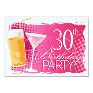 Orange and Pink Cocktail 30th Birthday Party Card