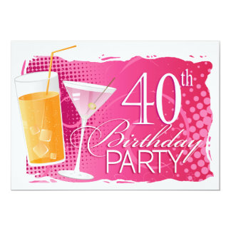 Orange and Pink Cocktail 40th Birthday Party Card