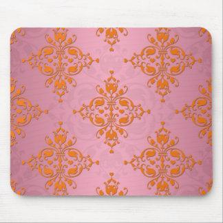 Orange and PInk Damask Pattern Mouse Pad