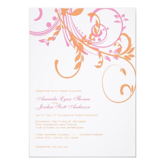 Pink Orange Wedding Invitations: Orange And Pink Double Floral Wedding Invitation
