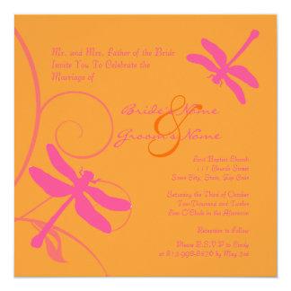 Orange and Pink Dragonfly Wedding Invitation