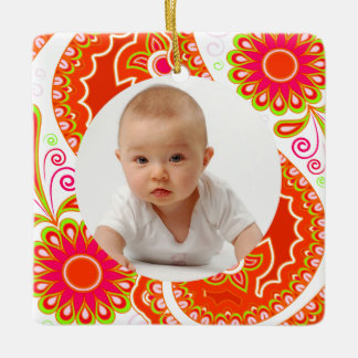 Orange and Pink Floral/Custom Photo Square Ornament