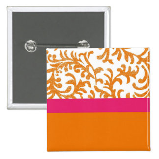 Orange and Pink Floral Pattern Buttons