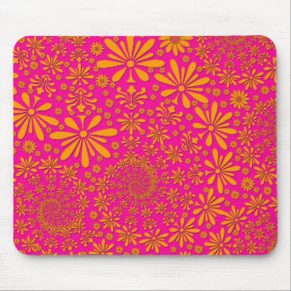 Orange and Pink Floral Pattern Mouse Pad