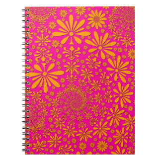 Orange and Pink Floral Pattern Spiral Note Book