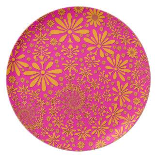 Orange and Pink Floral Pattern Dinner Plate