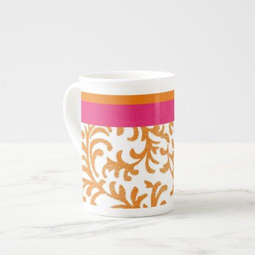 Orange and Pink Floral Pattern Porcelain Mug