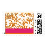 Orange and Pink Floral Pattern Postage Stamps