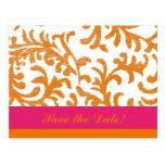 Orange and Pink Floral Pattern Postcard