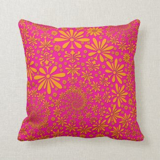 Orange and Pink Floral Pattern Throw Pillow