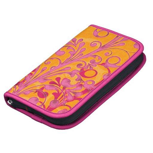 Orange and Pink Floral Rickshaw Smartphone Folio Planner
