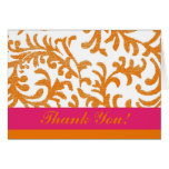 Orange and Pink Floral Thank You Greeting Card