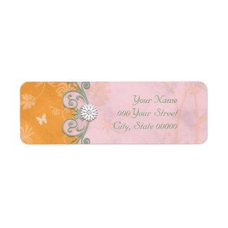 Orange and Pink Floral Wedding Label