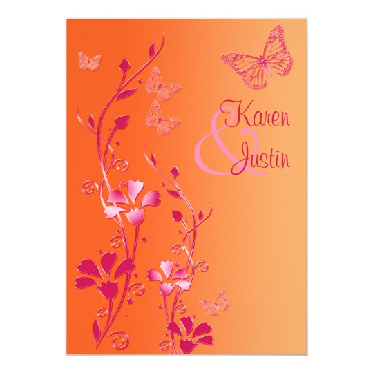 Orange and Pink Floral with Butterflies Invite