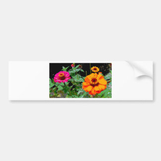 Orange and Pink Flowers Posterized Bumper Sticker