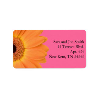 Orange and Pink Gerber Daisy Address Labels