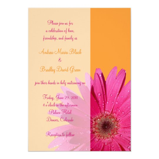 Hot Pink Gerbera Daisy White Wedding Invitation 5 X 7: Orange And Pink Gerbera Daisy Wedding Invitation