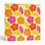Orange and Pink Hibiscus Pattern Binders