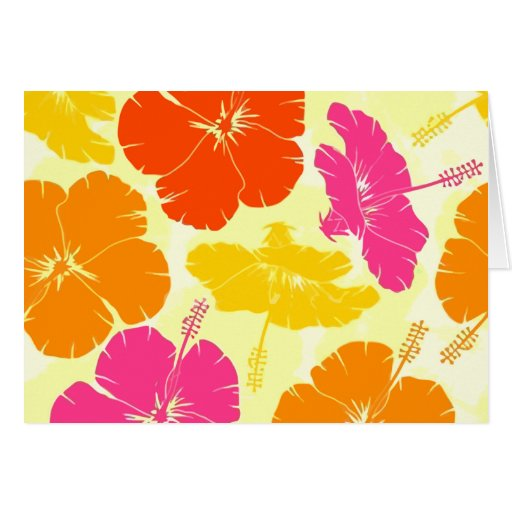 Orange and Pink Hibiscus Pattern Cards