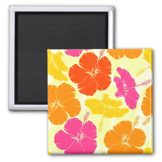 Orange and Pink Hibiscus Pattern 2 Inch Square Magnet