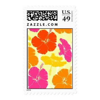 Orange and Pink Hibiscus Pattern Postage