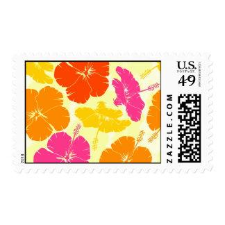 Orange and Pink Hibiscus Pattern Stamp