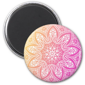 Orange and pink mandala magnet