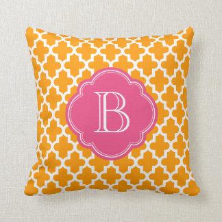 Orange and Pink Modern Moroccan Custom Monogram Pillows