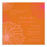 "Orange and Pink Mum Flowers Wedding Invitation 5.25"" Square Invitation Card"