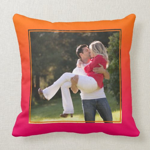 Orange and Pink Ombre Square Photo Throw Pillow