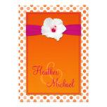 Orange and Pink Polka Dot Wedding Invitation
