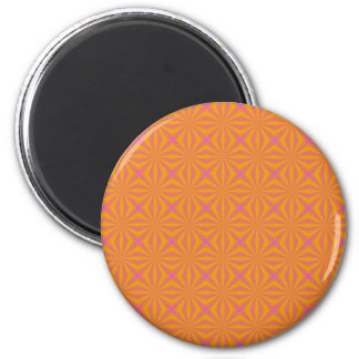Orange and Pink Quilted Pattern Fridge Magnet