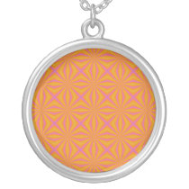 Orange and Pink Quilted Pattern Silver Plated Necklace