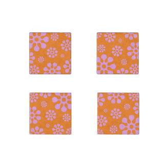 Orange And Pink Retro Funky Flower Magnets