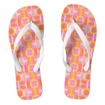 Orange and Pink Retro Pattern Seventies Collection Flip Flops