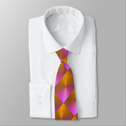 Orange and Pink Shimmer Blocks Neck Tie