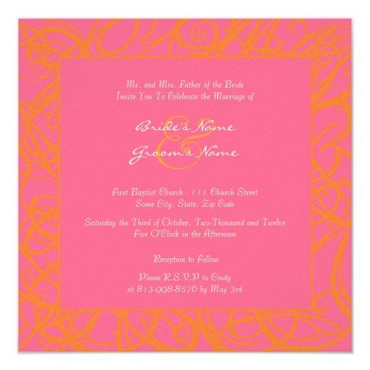 Pink Orange Wedding Invitations: Orange And Pink Sketchy Frame Wedding Invitation