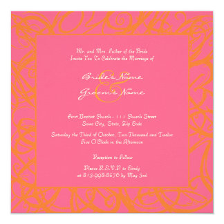 Hot Pink And Orange Wedding Invitations Announcements